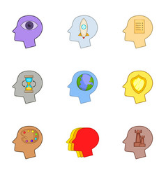 Creative thoughts inside man head icons set vector