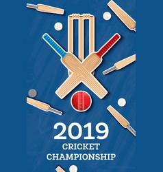 Cricket 2019 flyer player bat and ball cricket vector