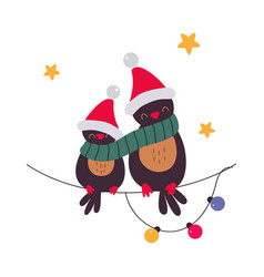 cute birds in santa hats sitting on branch merry vector image