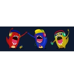 Cute monster listen to music graphic Set vector