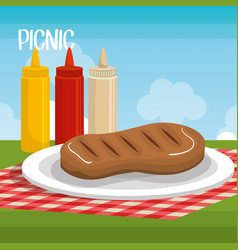 delicious picnic scene icons vector image