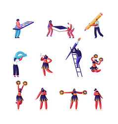 Education and cheerleading concept set characters vector