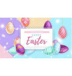 Eggs near banner with happy easter writing vector