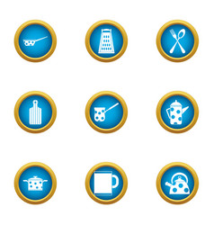 Electric kettle icons set flat style vector
