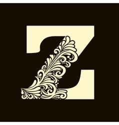 Elegant capital letter Z in the style Baroque vector image