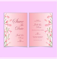 elegant tulips watercolor wedding invitation card vector image