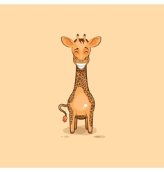 Emoji character cartoon Giraffe with a huge smile vector image