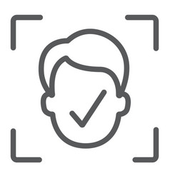 Face id line icon face recognition vector