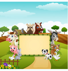 Farm animals with a blank sign bamboo vector