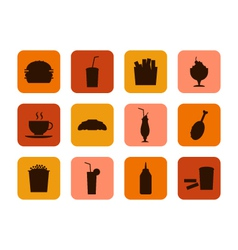 Fast food icon set of food and drinks vector