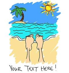 Feet on beach vector