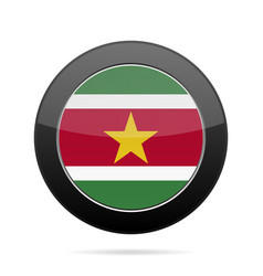Flag of suriname shiny black round button vector