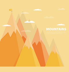 Flat flag on mountain success goal achievement vector