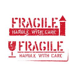 Fragile this way up handle with care grungy vector