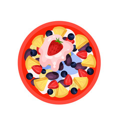 fruit salad with pineapple ripe strawberry plum vector image