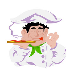 funny cook italian holds pizza in hand white vector image