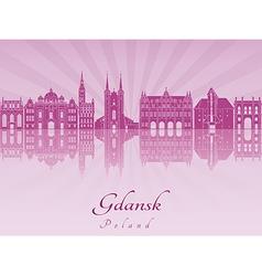 Gdansk skyline in purple radiant orchid vector image