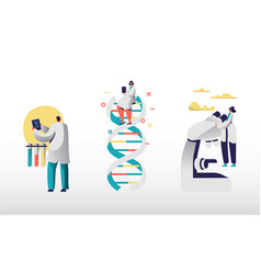Genetic laboratory staff using internet and smart vector