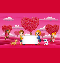 girls and boys holding white boards in the pink ga vector image