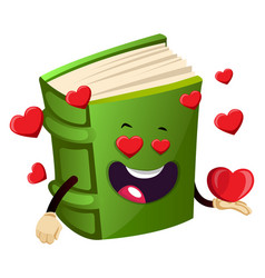 Green book is in love on white background vector