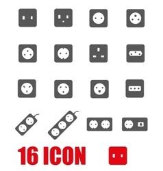 Grey power socket icon set vector