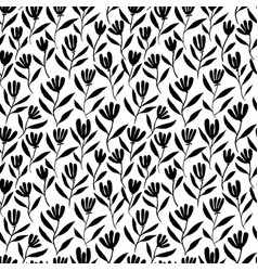 hand drawn brush flower seamless pattern vector image