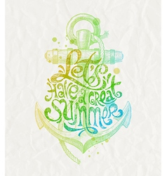 Hand drawn design - summer holidays greeting vector image