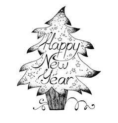 Hand-drawn greetings card Happy New Year black vector