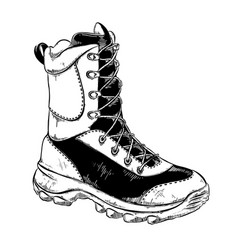 Hand drawn sketch of boot in black isolated on vector