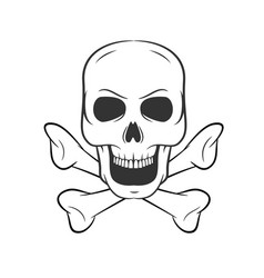 Hand drawn skull with bones icon on white vector