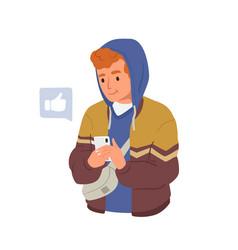 happy young man using smartphone app social media vector image