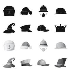 Headgear and cap icon set vector