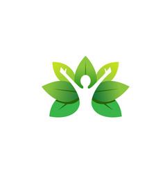 Healing body leaves logo vector