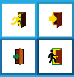 Icon flat door set of evacuation entry entrance vector