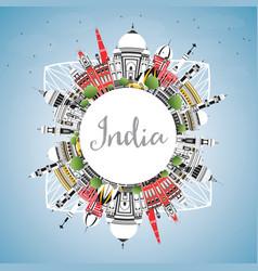 India city skyline with color buildings blue sky vector