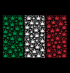 Italy flag pattern of cannabis icons vector