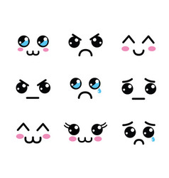 Kawaii faces eyes icon vector
