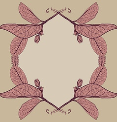 Leaves contours floral border Sketch frames vector