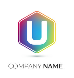 Letter u logo symbol in the colorful hexagonal on vector