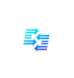 logo design e letters with arrows vector image