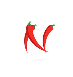 Logo red chili pepper letter n vector