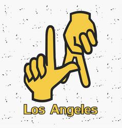 los angeles la hands gesture vector image
