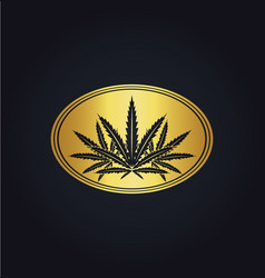 Marijuana leaf emblem gold logo vector