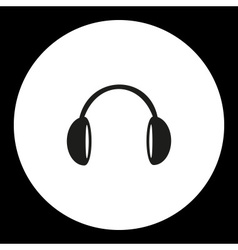 Music headphones black simple isolated icon eps10 vector