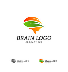 Nature brain logo template brain mind with leaf vector