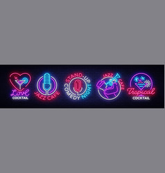 Nightlife collection neon signs design template vector