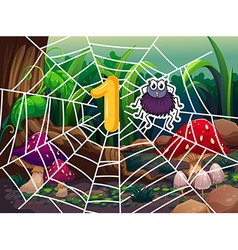 Number one and one spider on web vector