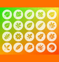 organic leaf shape carved flat icons set vector image