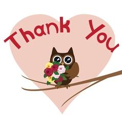 Owl thank you card vector