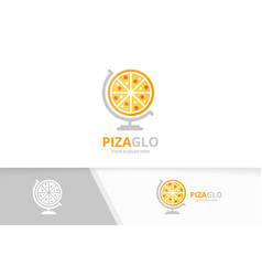 pizza and globe logo combination food vector image